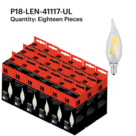 P18-LEN-41117-UL F4W Candle Flame Tip E12 2700K - FREE SHIPPING!
