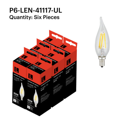 P6-LEN-41117-UL 4W Candle Flame Tip E12 2700K - FREE SHIPPING!