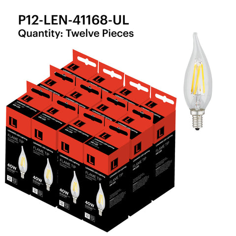 P12-LEN-41168-UL 4W Candle Flame Tip E12 2200K - FREE SHIPPING!