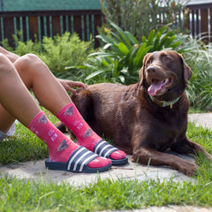 "This is an image of pink crew socks with multiple faces of a dog and ""Dog Mom"" text."