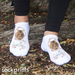 "This is an image of the ""I'd Rather Be a Unicorn"" custom printed pet socks."