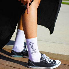 This is an image of white crew Class of 2019 graduation gift socks.
