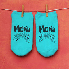 "This is an image of ""Mom Established 2017"" Mother's Day custom printed socks."