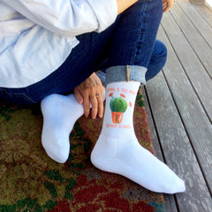 "This is an image of ""Nothing Is Too Prickly For Mom To Handle"" Mother's Day custom printed socks."