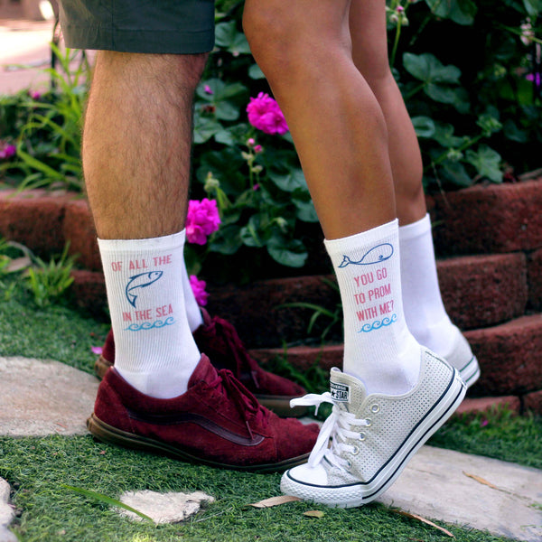 "This is an image of ""Whale You Go To Prom With Me"" promposal custom printed socks."