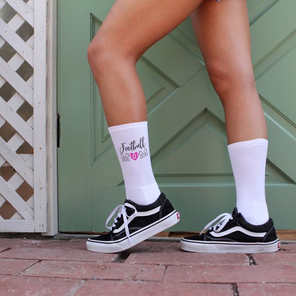 This is an image of Football Mom personalized football crew socks.