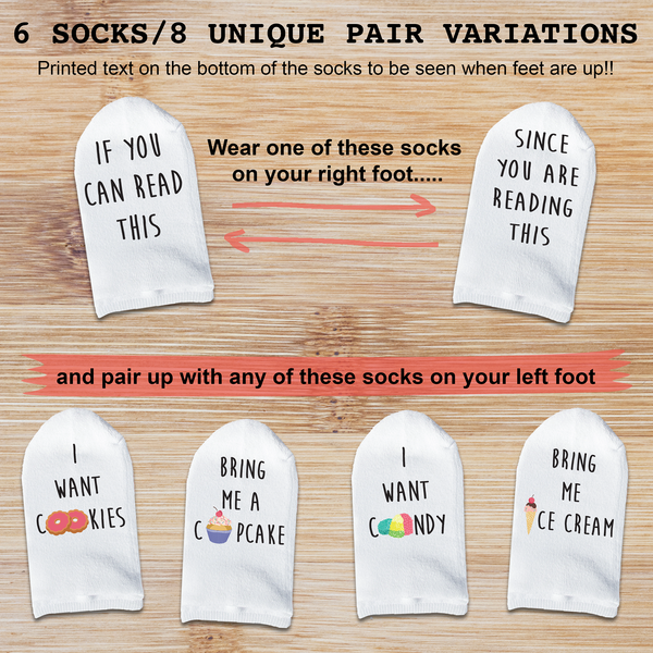 "This is an image of sweets and treats themed Mix & Match Bottoms Up ""If You Can Read This"" sock sets."