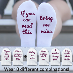"This is an image of the wine themed Mix & Matcha Bottoms Up ""If You Can Read This"" sock sets."