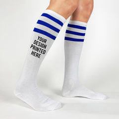 This is an image of Create Custom Printed Knee High Socks - White Royal Stripes.
