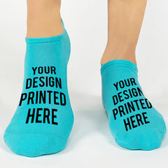 This is an image of Create Your Own Custom Design No-Show Socks - Turquoise.