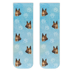 This is an image of Custom Photo Socks - All Over Paw Prints and Faces.