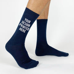 This is an image of Custom Printed Personalized Socks Men's Flat Knit Dress Socks - Navy.