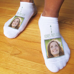 This is an image of Valentine's Day themed socks with a custom printed image.