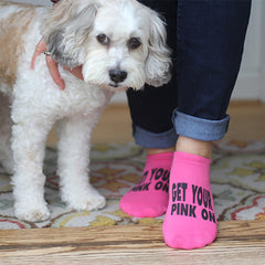 This is an image of Get Your Pink On Breast Cancer Awareness no-show socks.