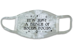 This is an image of the Hocus Pocus Gray Tie Dye Halloween Face Mask.