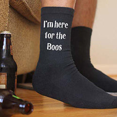 "This is an image of ""I'm Here For The Boos"" Halloween black crew socks."