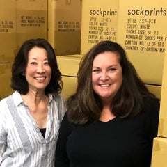 This is an image of sockprints Co-Founders Jann and Hayley.