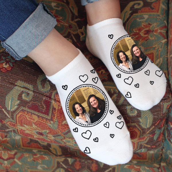 This is an image of Jann and Hayley on a pair of no-show socks.