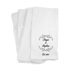 This is an image of Kitchen Towels Personalized with a Couple's Name and Established Date.