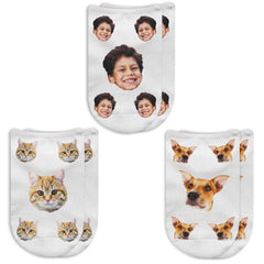 This is an image of People or Pet Faces Custom Printed on No Show Socks.