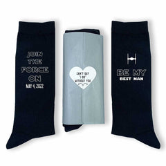 This is an image of Star Wars Inspired Groomsmen Proposal Socks Personalized with a Wedding Date in Assorted Colors.