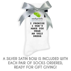 This is an image of Funny Bridesmaid Proposal Socks Personalized with Bride's Name - Assorted Sizes and Colors.