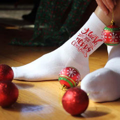 This is an image of I Wish You A Merry Christmas white crew socks.