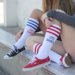 This is an image of knee high customized socks.