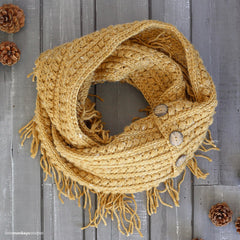 This is an image of a yellow infinity scarf.