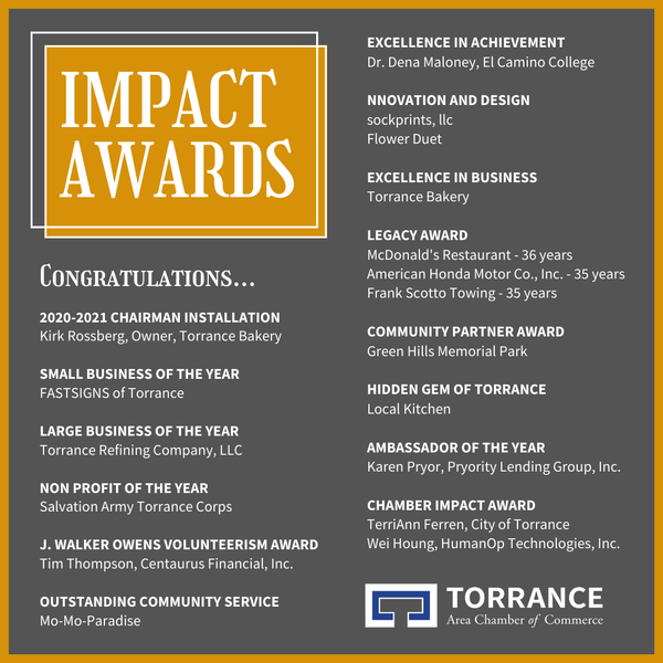 This is an image of a graphic with a list of Impact Award recipients from the Torrance Area Chamber of Commerce.