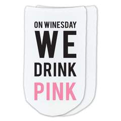 This is an image of the On Wednesday We Drink Pink - Funny Wine Socks.