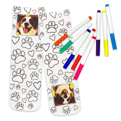 This is an image of Custom Color In Photo Crew Socks with Paw Print Design.