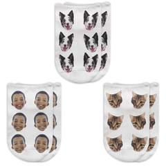 This is an image of 3 pairs of Personalized No Show Socks with Your Face on Them.