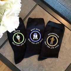 This is an image of customized Star Wars inspired heroes socks.