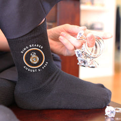 This is an image of customized Stars Wars inspired ring bearer socks.