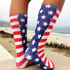 This is an image of Stars and Stripes Full Print Socks.