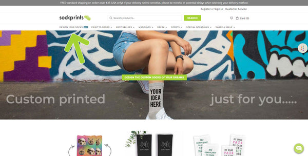 This is an image of the sockprints.com home page.