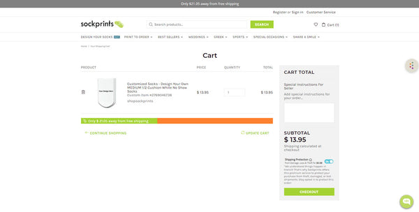 This is an image of the sockprints checkout screen.