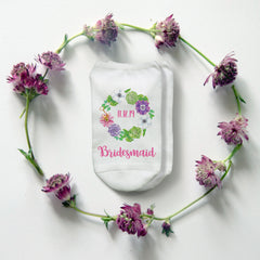This is an image of Succulent Wreath Floral Bridesmaid Socks.