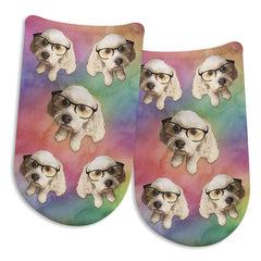 This is an image of Your Face Printed on Socks - People or Pet Faces Custom Printed on No Show Socks.