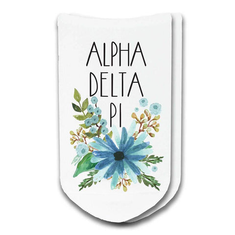 Alpha Delta Pi Sorority Watercolor Floral No-Show Socks