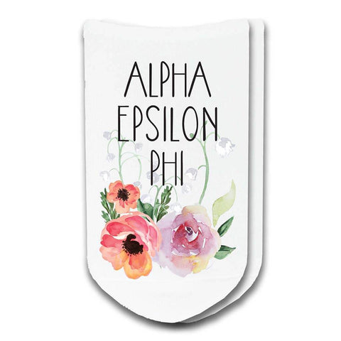 Alpha Epsilon Phi Sorority Watercolor Floral No-Show Socks