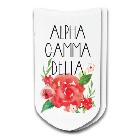 Alpha Gamma Delta Sorority Watercolor Floral No-Show Socks