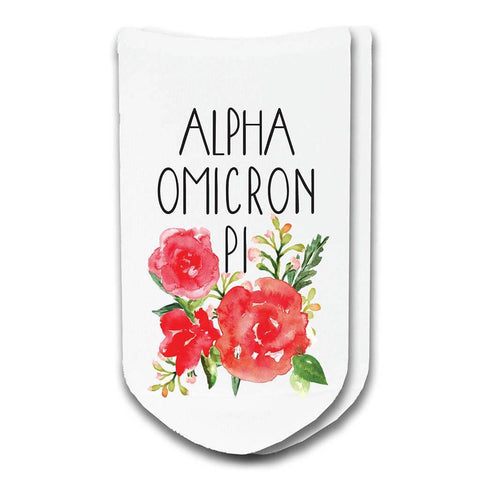 Alpha Omicron Pi Sorority Watercolor Floral No-Show Socks