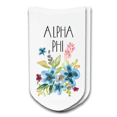Alpha Phi Sorority Watercolor Floral No-Show Socks