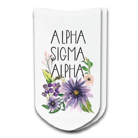 Alpha Sigma Alpha Sorority Watercolor Floral No-Show Socks