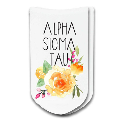 Alpha Sigma Tau Sorority Watercolor Floral No-Show Socks