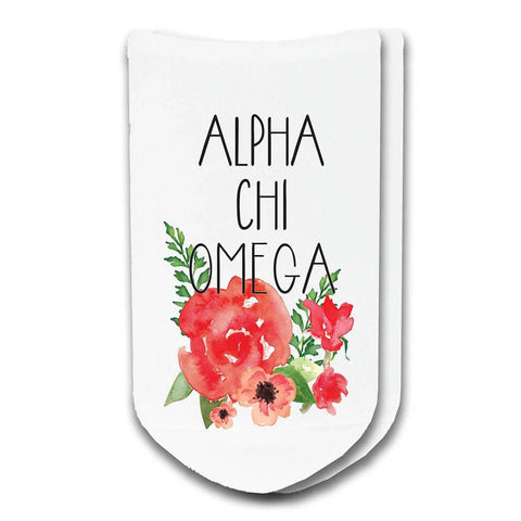 Alpha Chi Omega Sorority Watercolor Floral No-Show Socks