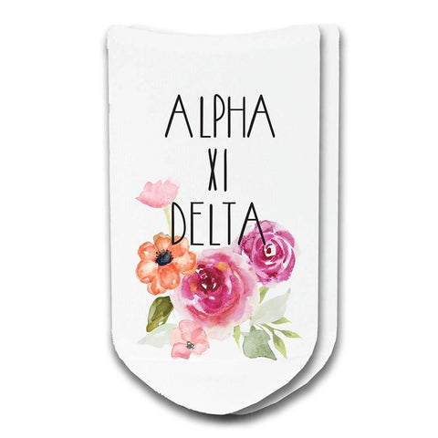 Alpha Xi Delta Sorority Watercolor Floral No-Show Socks