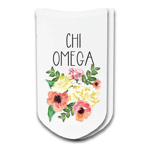 Chi Omega Sorority Watercolor Floral No-Show Socks